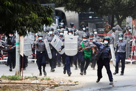2 Myanmar protesters killed by police fire, reports say